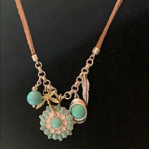 LUCKY BRAND SUEDE, SILVERTONE & STONE NECKLACE